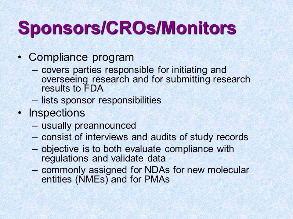 Sponsors/CROs/Monitors
