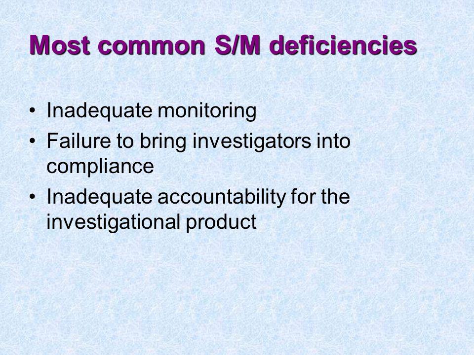 Most common S/M deficiencies