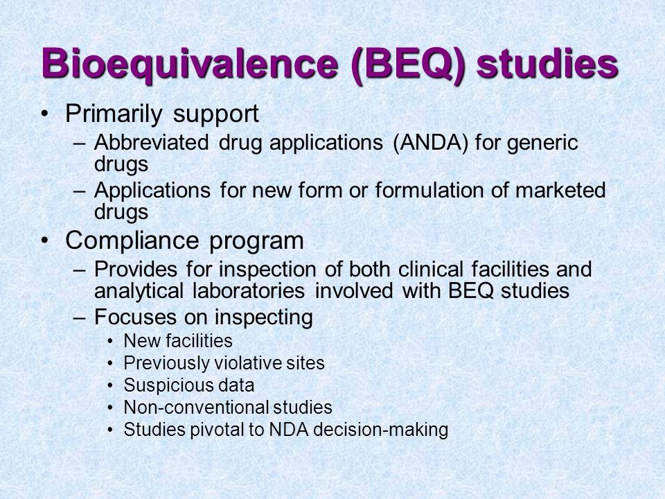Bioequivalence (BEQ) studies