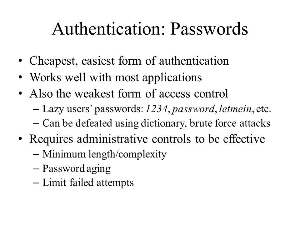 Authentication: Passwords