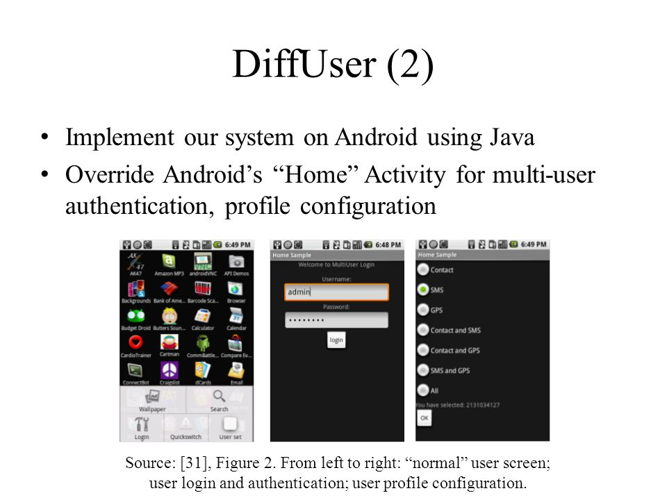 DiffUser (2) Implement our system on Android using Java