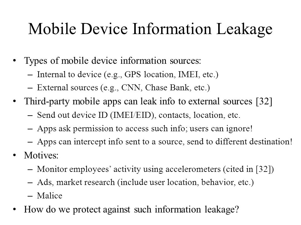 Mobile Device Information Leakage