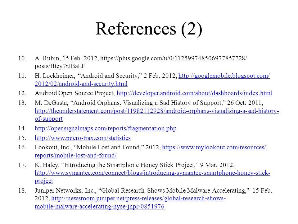 References (2) A. Rubin, 15 Feb. 2012, https://plus.google.com/u/0/112599748506977857728/ posts/Btey7rJBaLF.