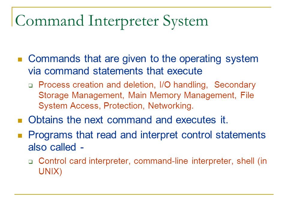Command Interpreter System