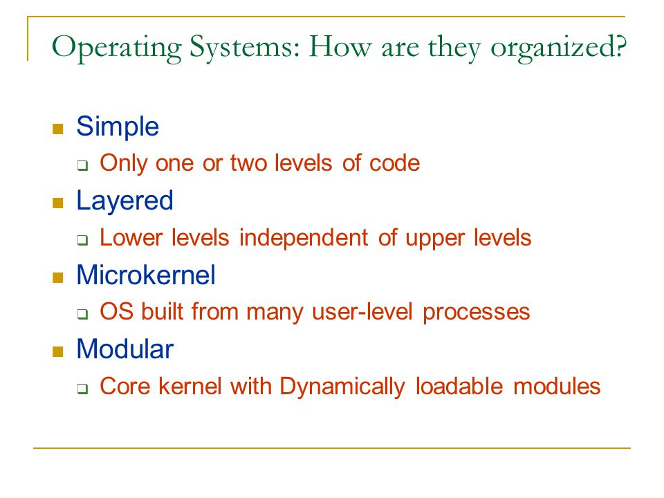 Operating Systems: How are they organized