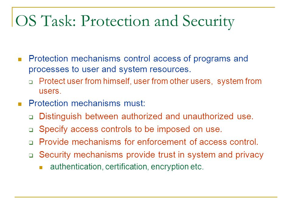 OS Task: Protection and Security