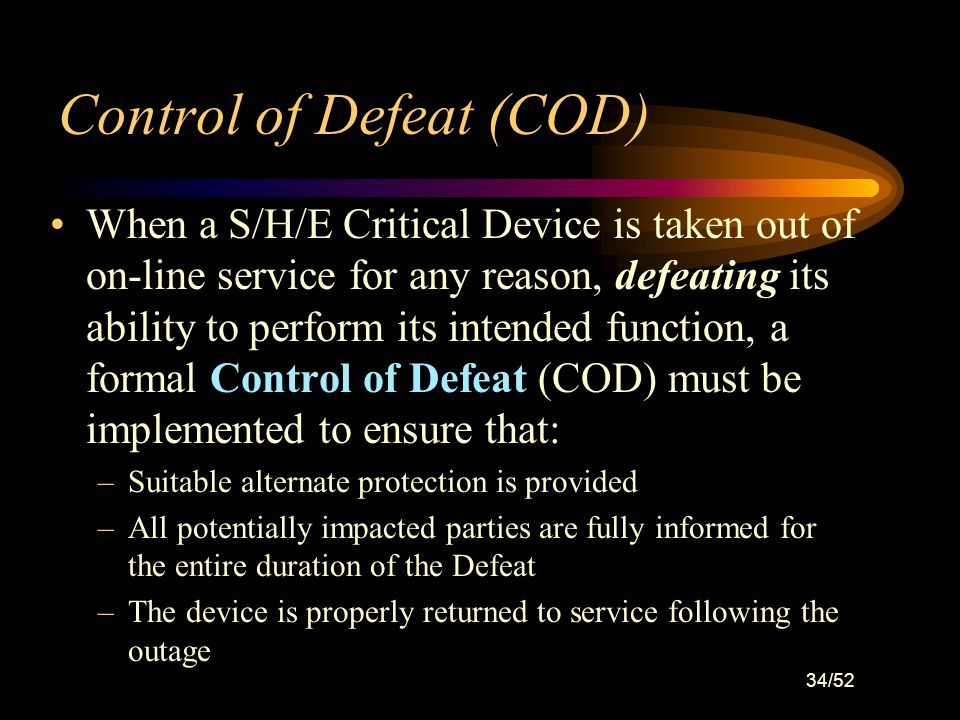 Control of Defeat (COD)