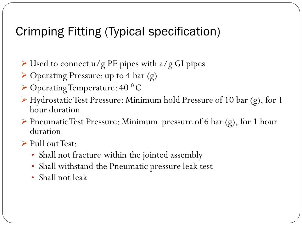 Crimping Fitting (Typical specification)
