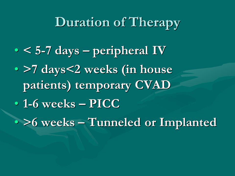 Duration of Therapy < 5-7 days – peripheral IV