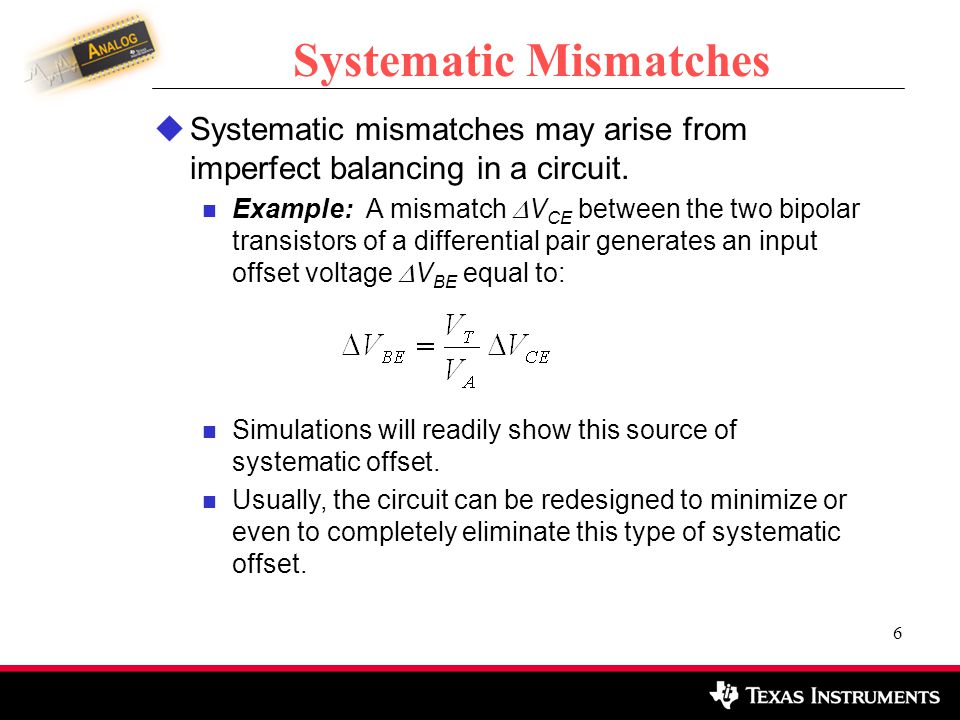 Systematic Mismatches