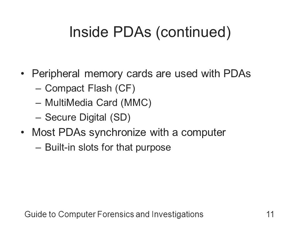 Inside PDAs (continued)