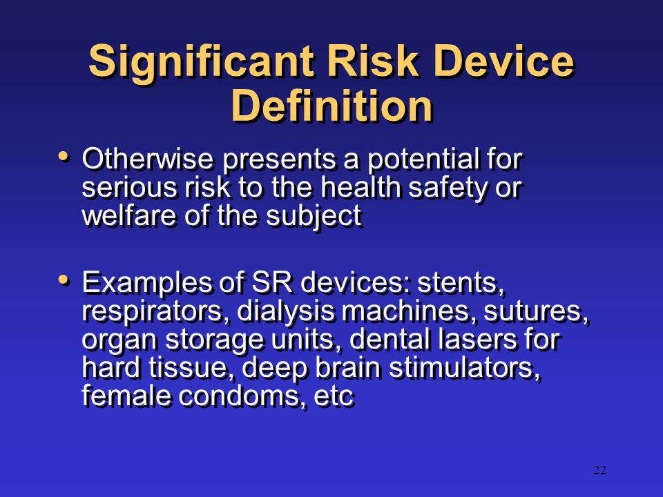 Significant Risk Device Definition