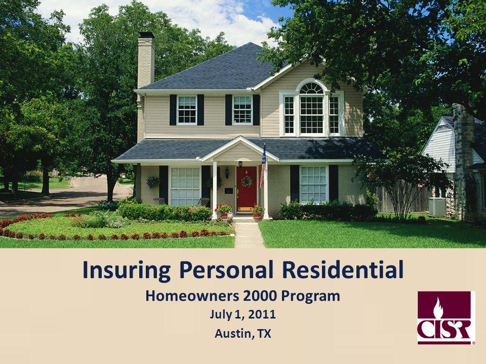 Insuring Personal Residential Homeowners 2000 Program