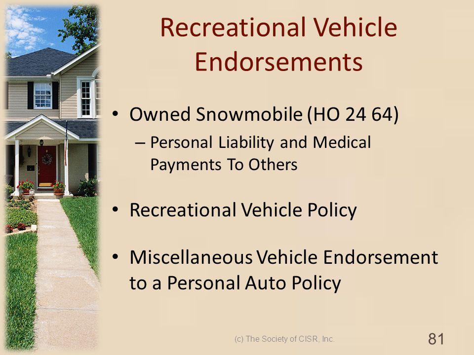 Recreational Vehicle Endorsements