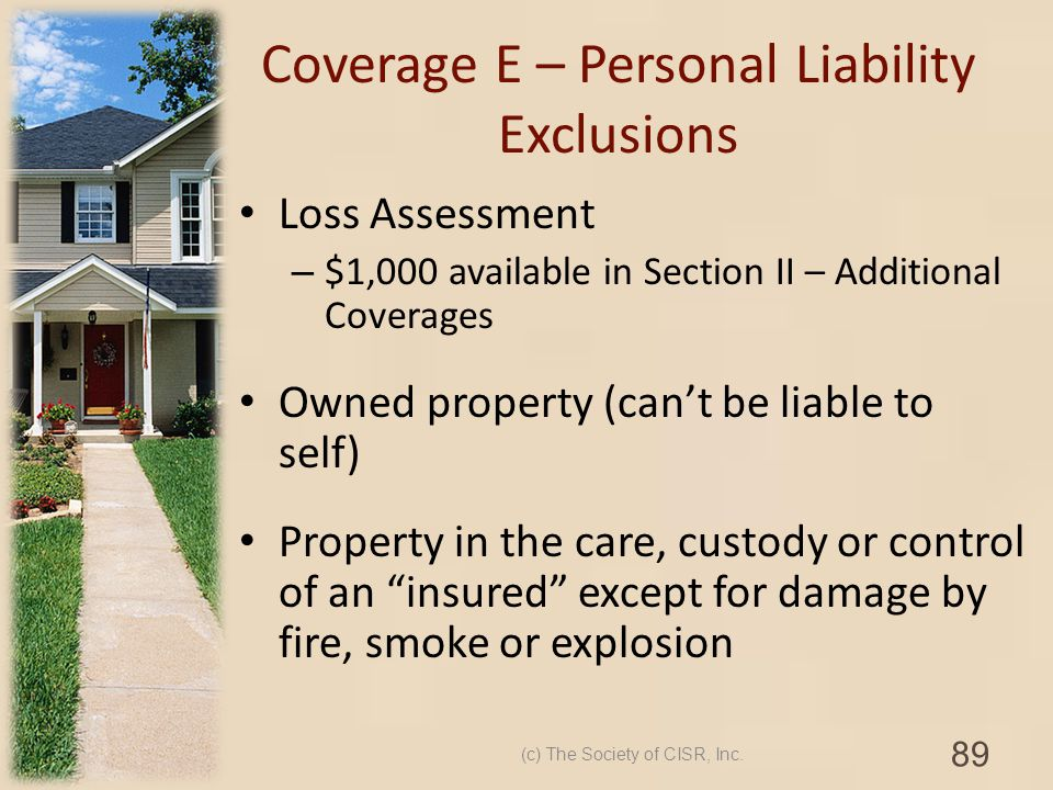 Coverage E – Personal Liability Exclusions