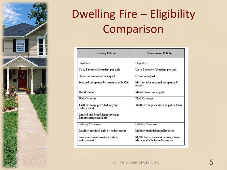 Dwelling Fire – Eligibility Comparison