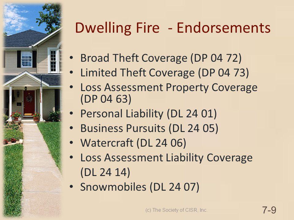 Dwelling Fire - Endorsements