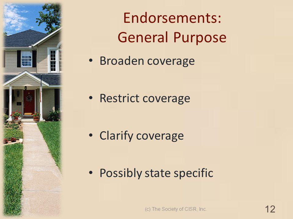 Endorsements: General Purpose