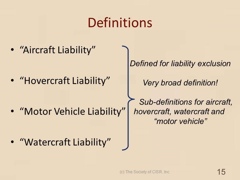 Definitions Aircraft Liability Hovercraft Liability