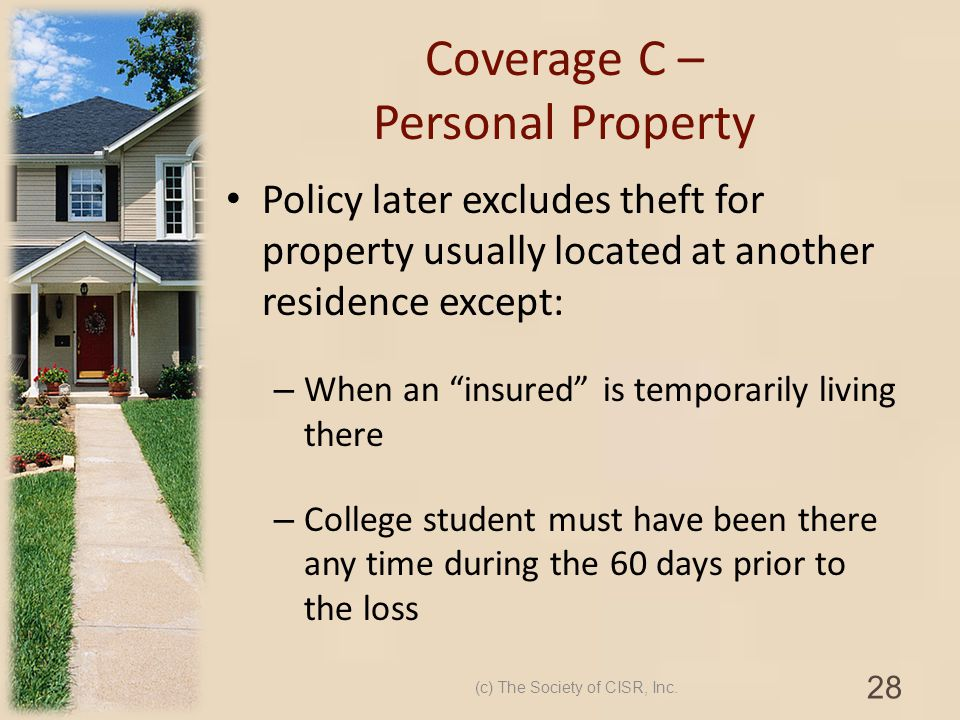 Coverage C – Personal Property