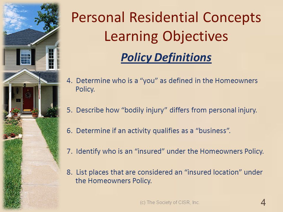 Personal Residential Concepts Learning Objectives