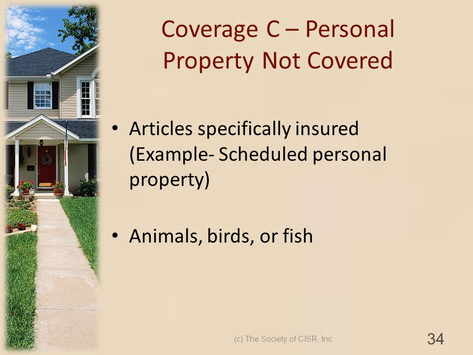 Coverage C – Personal Property Not Covered