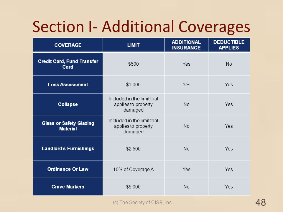 Section I- Additional Coverages