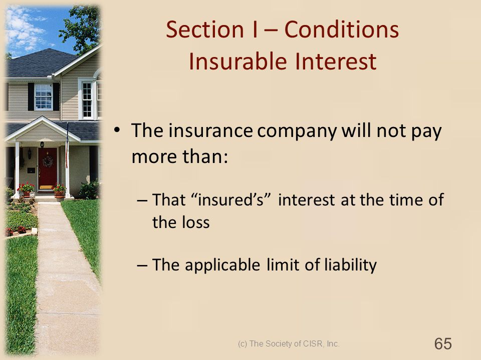 Section I – Conditions Insurable Interest
