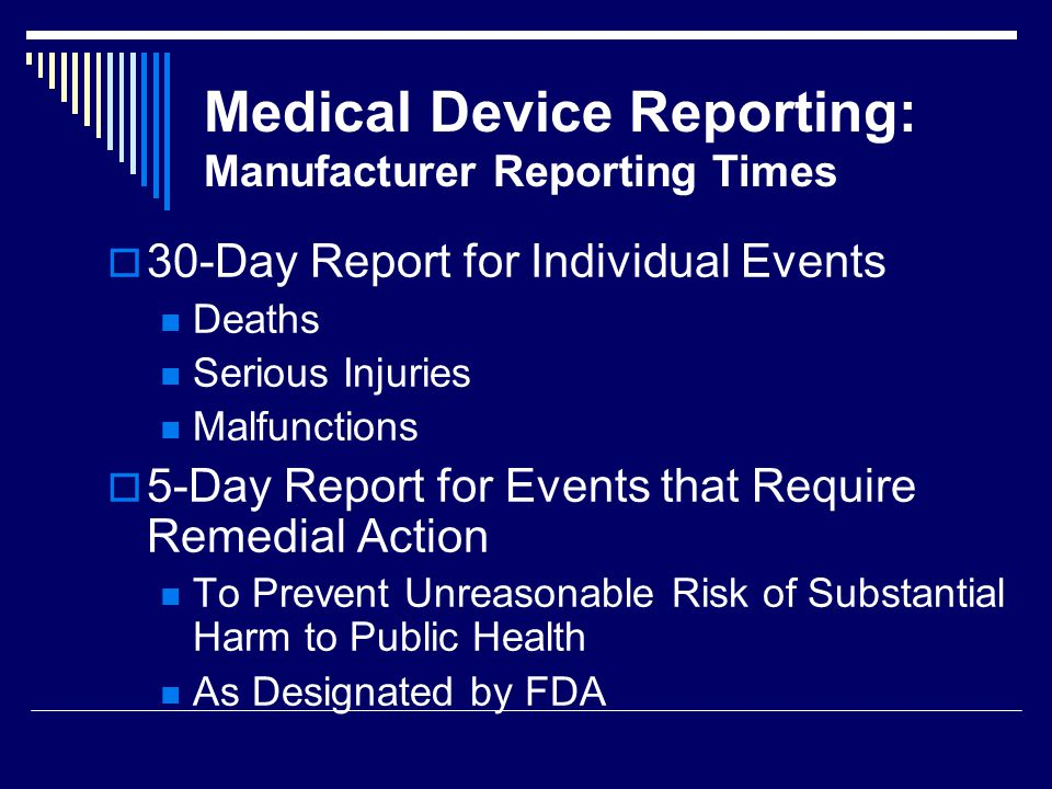 Medical Device Reporting: Manufacturer Reporting Times