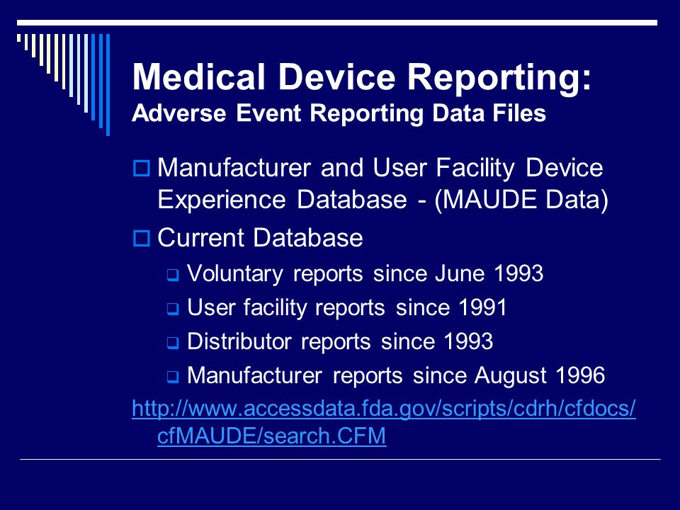 Medical Device Reporting: Adverse Event Reporting Data Files