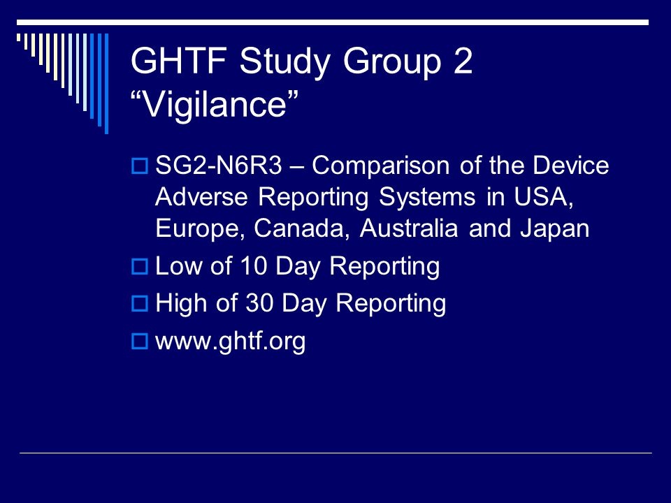 GHTF Study Group 2 Vigilance
