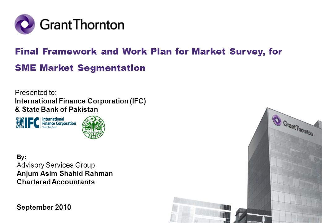 Final Framework and Work Plan for Market Survey, for