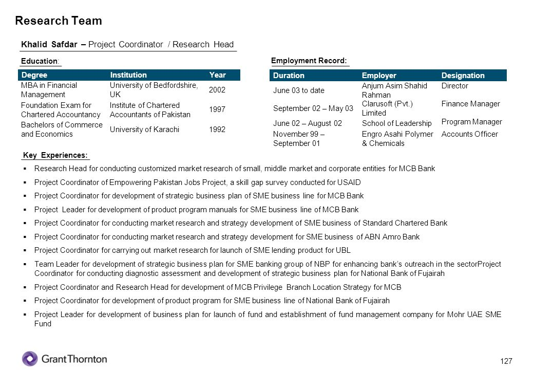 Research Team Khalid Safdar – Project Coordinator / Research Head 127