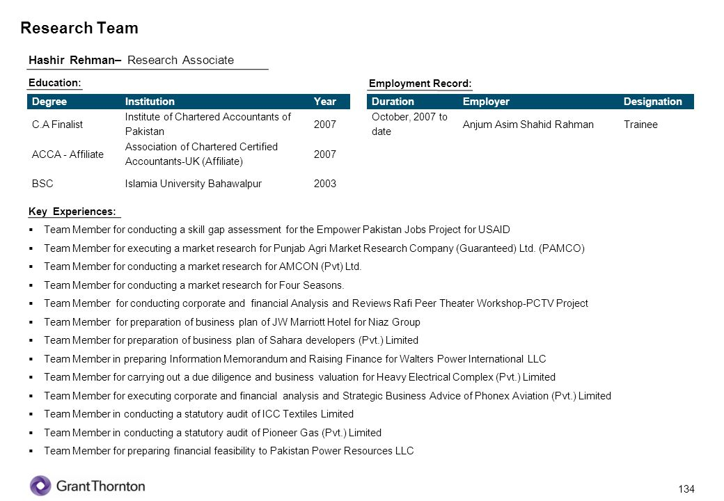 Research Team Hashir Rehman– Research Associate 134 Education: