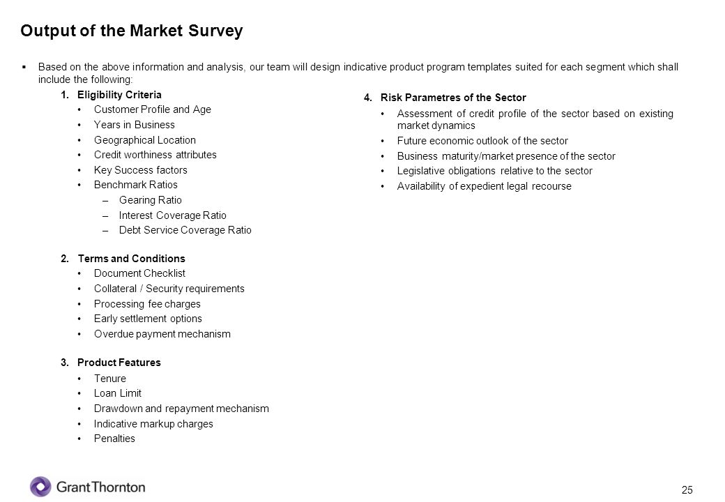 Output of the Market Survey