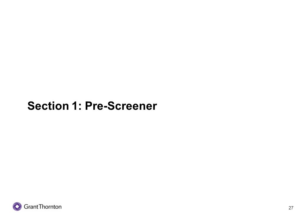 Section 1: Pre-Screener