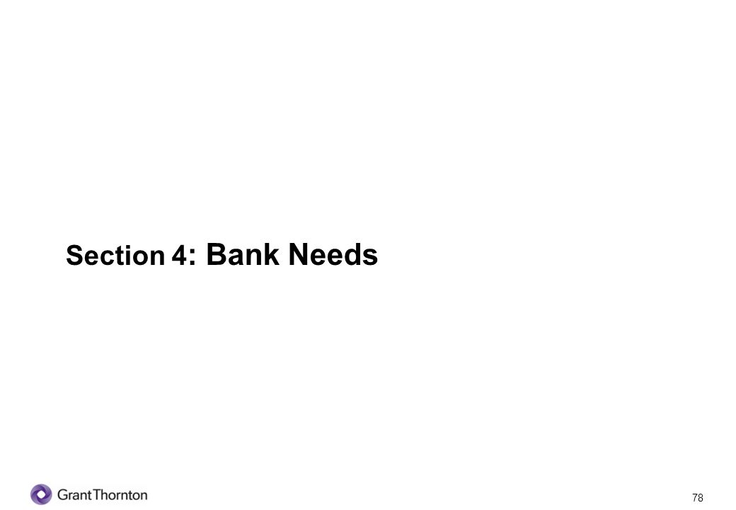 Section 4: Bank Needs 78