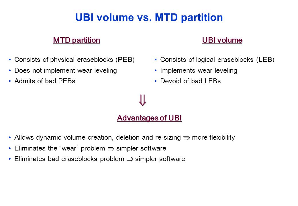 UBI volume vs. MTD partition