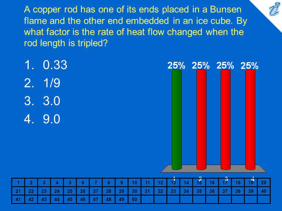 A copper rod has one of its ends placed in a Bunsen flame and the other end embedded in an ice cube. By what factor is the rate of heat flow changed when the rod length is tripled