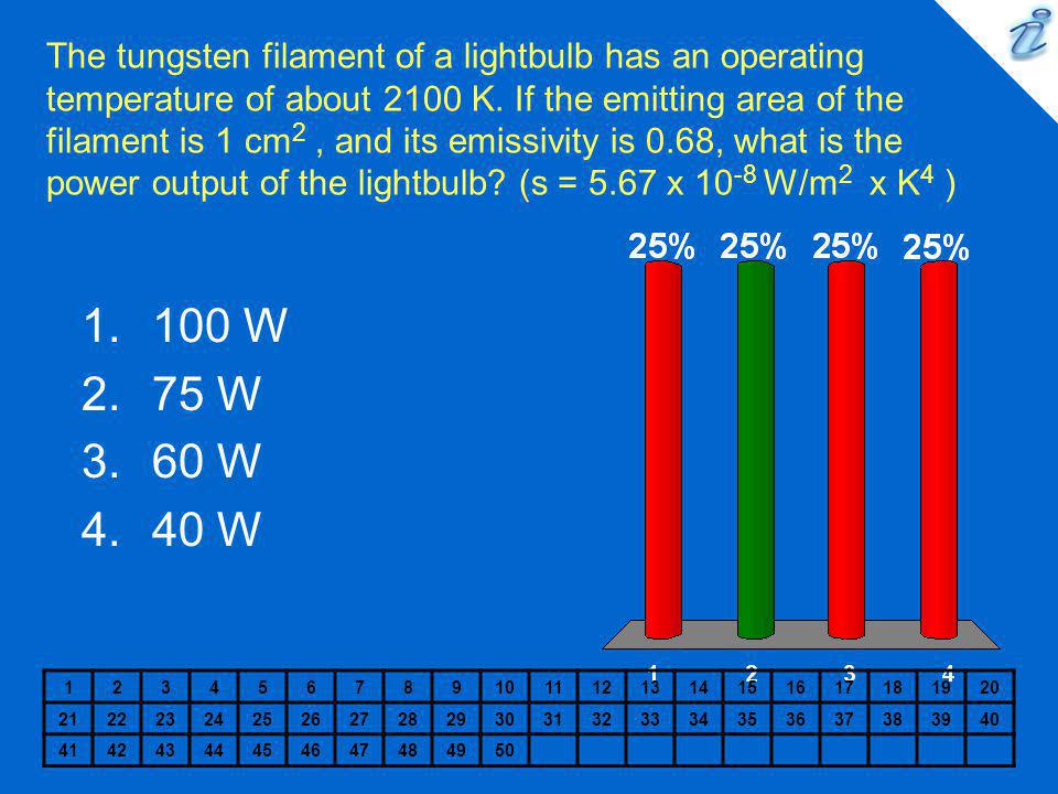 The tungsten filament of a lightbulb has an operating temperature of about 2100 K. If the emitting area of the filament is 1 cm2 , and its emissivity is 0.68, what is the power output of the lightbulb (s = 5.67 x 10-8 W/m2 x K4 )