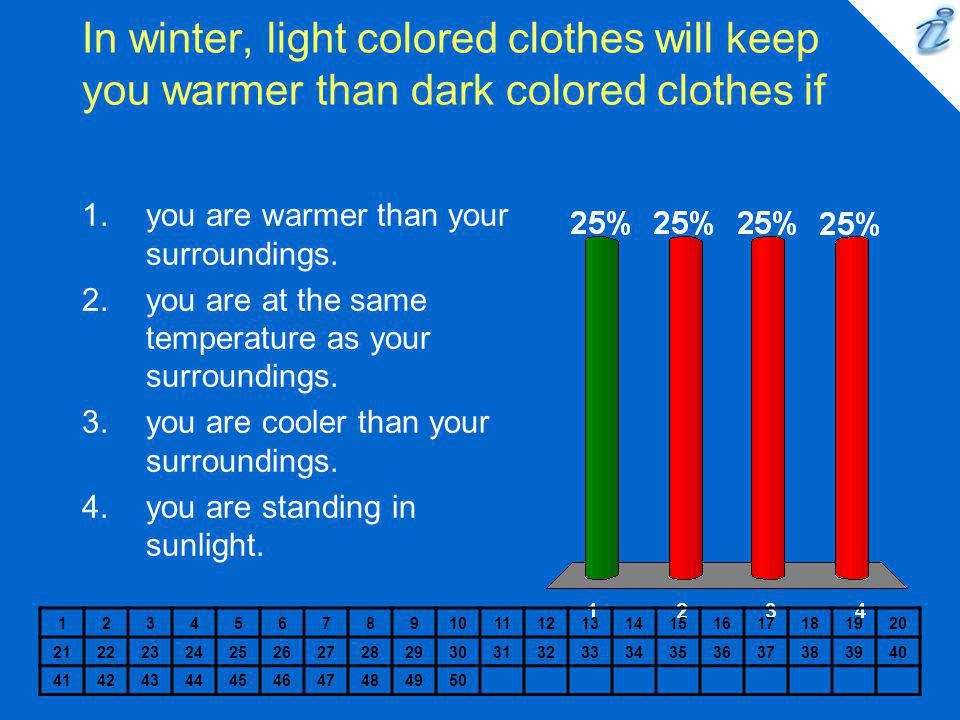 In winter, light colored clothes will keep you warmer than dark colored clothes if