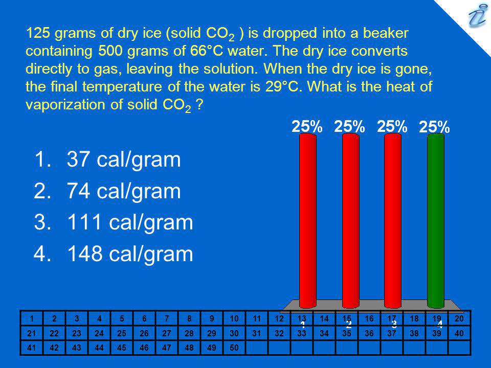 37 cal/gram 74 cal/gram 111 cal/gram 148 cal/gram