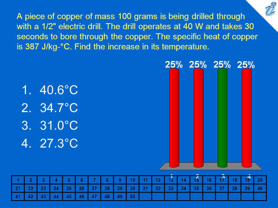 A piece of copper of mass 100 grams is being drilled through with a 1/2 electric drill. The drill operates at 40 W and takes 30 seconds to bore through the copper. The specific heat of copper is 387 J/kg-°C. Find the increase in its temperature.