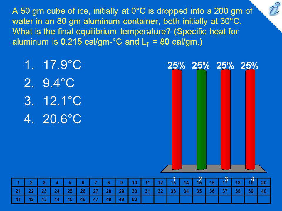 A 50 gm cube of ice, initially at 0°C is dropped into a 200 gm of water in an 80 gm aluminum container, both initially at 30°C. What is the final equilibrium temperature (Specific heat for aluminum is 0.215 cal/gm-°C and Lf = 80 cal/gm.)