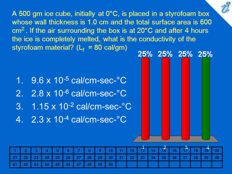9.6 x 10-5 cal/cm-sec-°C 2.8 x 10-6 cal/cm-sec-°C