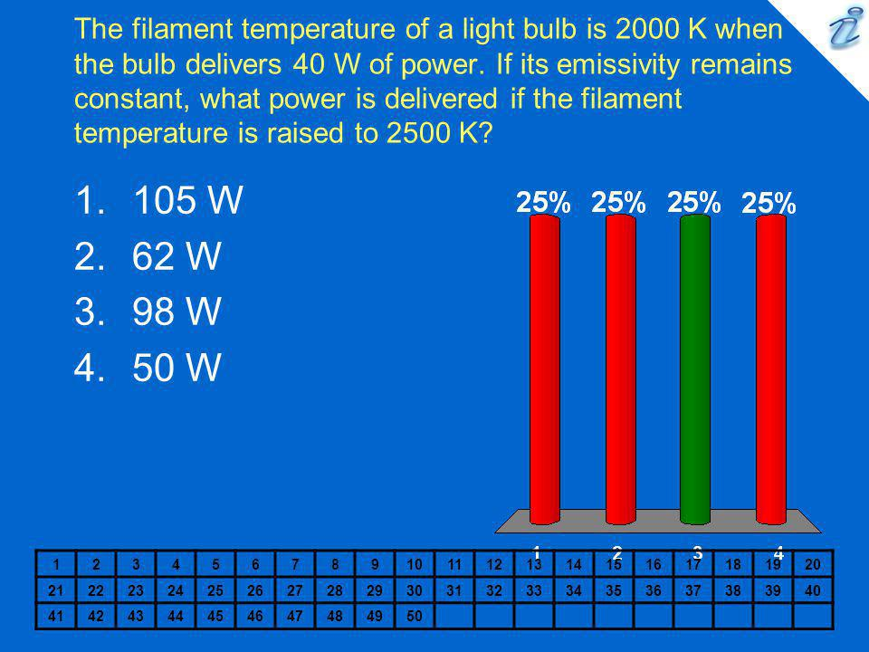 The filament temperature of a light bulb is 2000 K when the bulb delivers 40 W of power. If its emissivity remains constant, what power is delivered if the filament temperature is raised to 2500 K