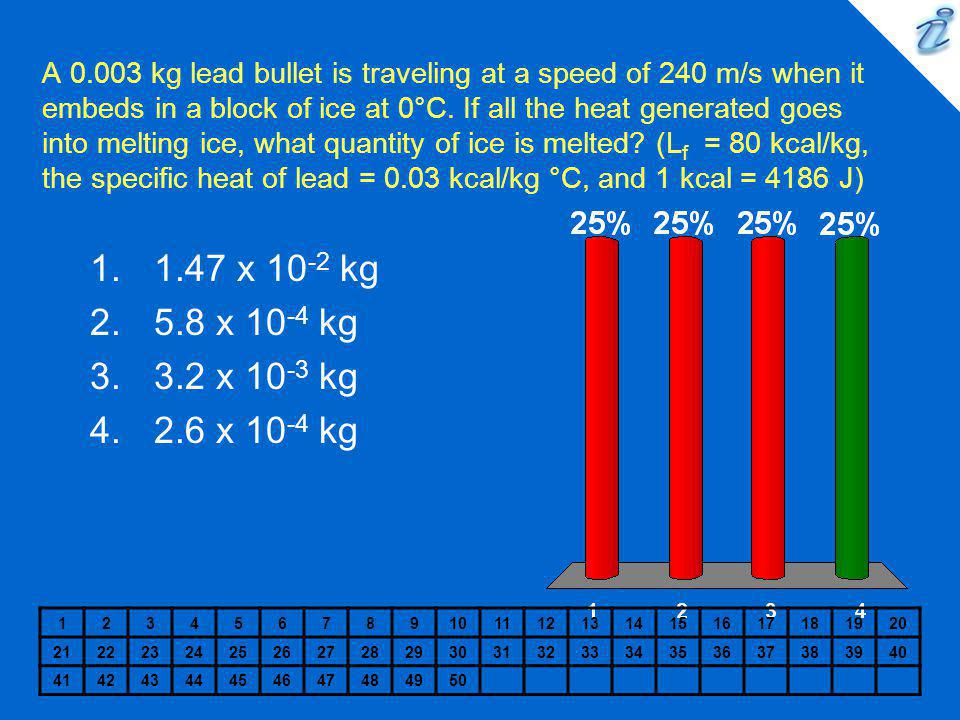 A 0.003 kg lead bullet is traveling at a speed of 240 m/s when it embeds in a block of ice at 0°C. If all the heat generated goes into melting ice, what quantity of ice is melted (Lf = 80 kcal/kg, the specific heat of lead = 0.03 kcal/kg °C, and 1 kcal = 4186 J)
