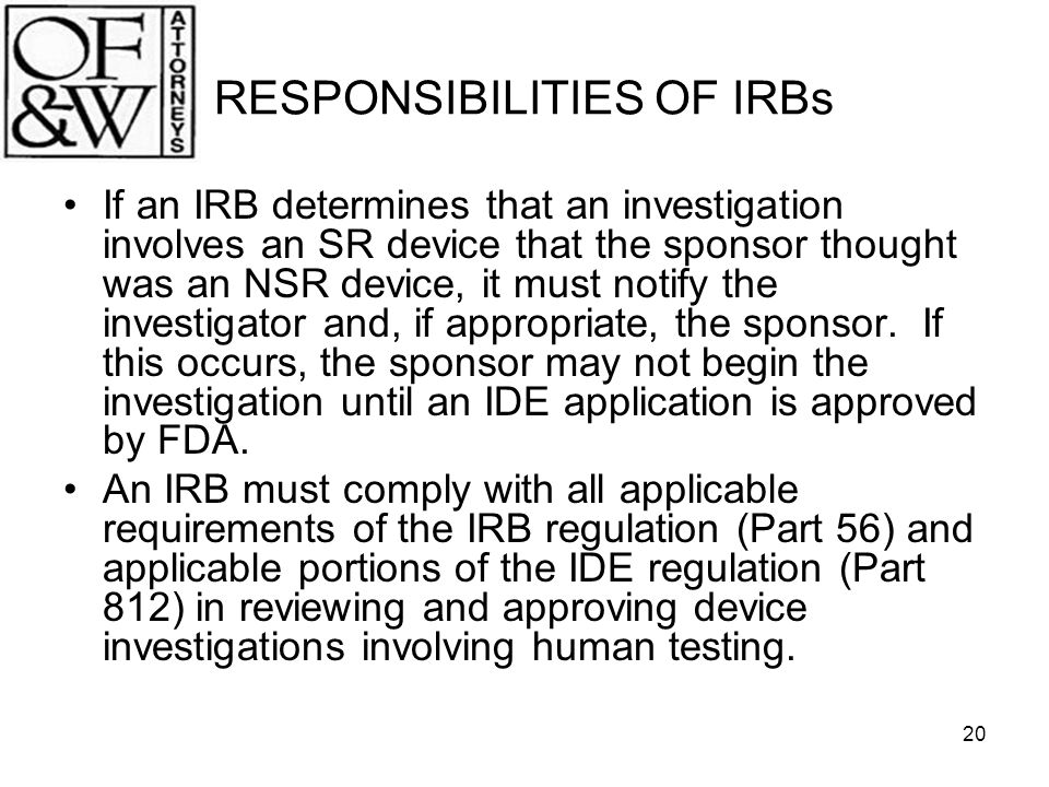 RESPONSIBILITIES OF IRBs