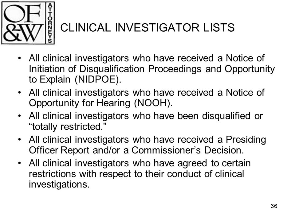 CLINICAL INVESTIGATOR LISTS
