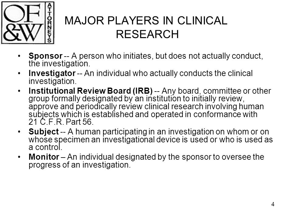 MAJOR PLAYERS IN CLINICAL RESEARCH